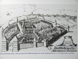 Scharzweiß Zeichnung zum Dorf Westkapelle um 1370