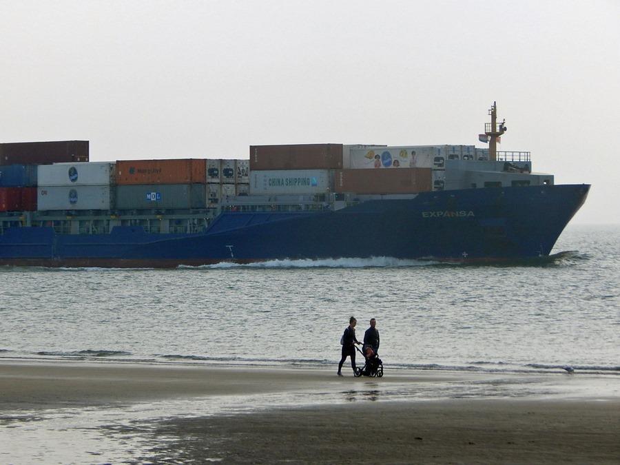 Strand Dishoek mit Containerschiff